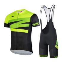 Santic Men's Cycling Jersey Set Bib Shorts 4D Padded Short Sleeve Outfits Set Quick-Dry