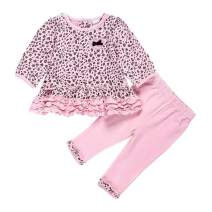LittleSpring Cute Toddler Baby Girls Clothes Set Long Sleeve T-Shirt and Pants Kids 2pcs Outfits