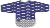 Kushies Cleanbib Waterproof Feeding Bib with Sleeves and Catch All/Crumb Catcher Pocket. Wipe Clean and Reuse! Lightweight for Comfort, Baby Boys, 12-24 Months, Navy Mustache