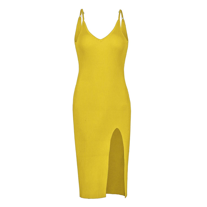 DREFBUFY Sleeveless Knit Dress Women's Stretchy V-Neck Knee Length Bodycon Dress