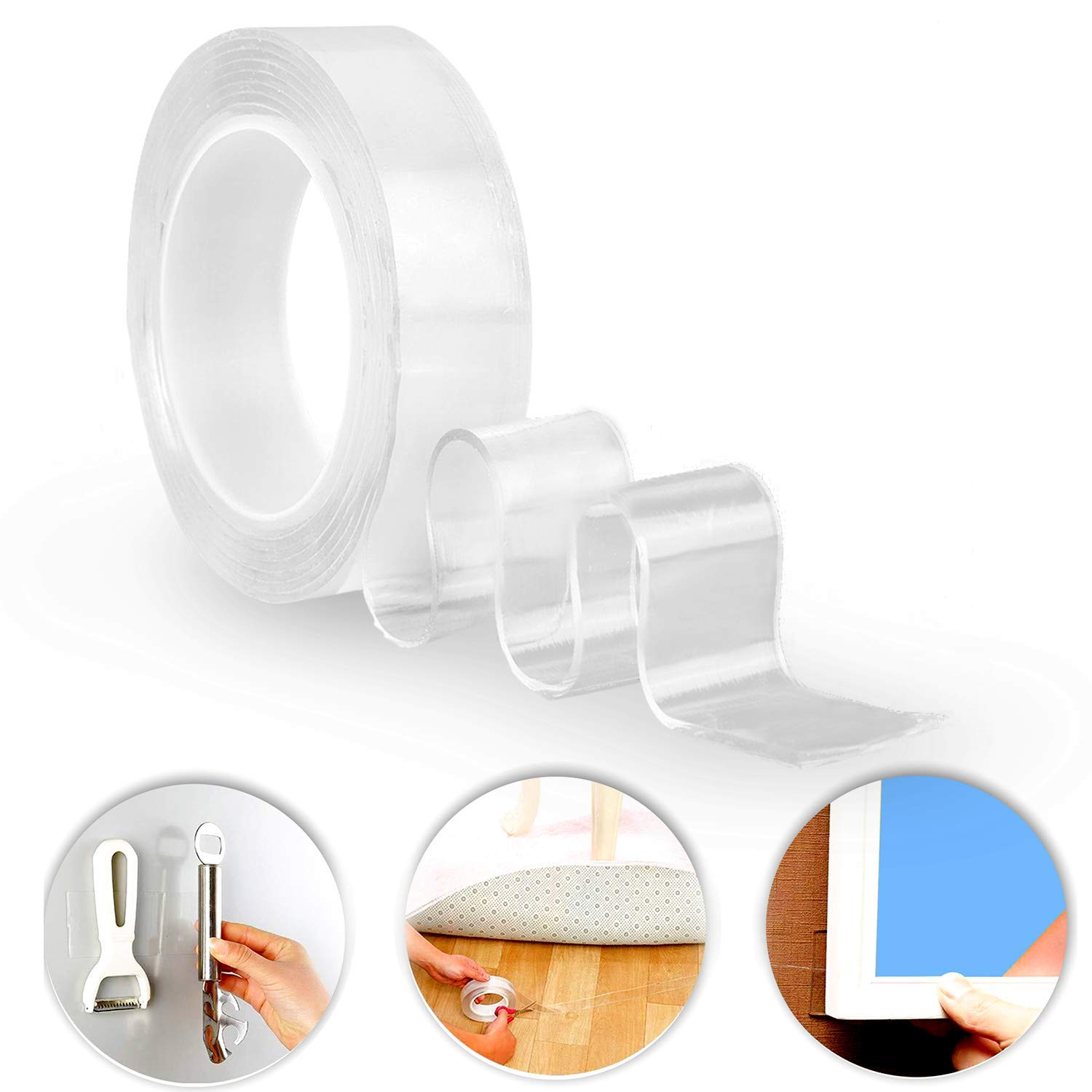 iBayx Traceless Washable Adhesive,Removable Reusable Adhesive Gel Grip Tape Duty Double Sided Tape Clear Silicone Tape for Paste Photos Fix Carpet Mats Pen Key (3.28FT/1METERS)