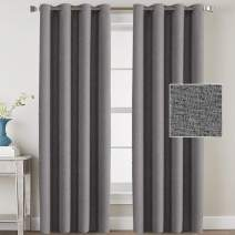 H.VERSAILTEX Linen Blackout Curtains 96 Inches Long for Bedroom/Living Room Thermal Insulated Grommet Curtain Drapes Primitive Textured Linen Burlab Effect Window Draperies 2 Panels - Grey