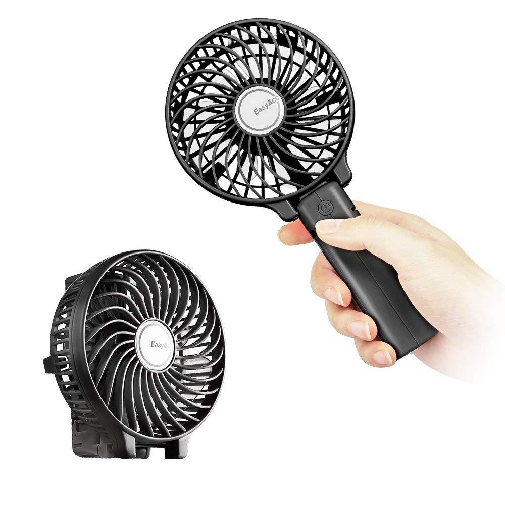 Mini Handheld Fan, EasyAcc Personal Cooling Fan with 2600mAh USB Rechargeable Battery 3-15 Working Hours Battery Fan Folding USB Desk Fan Small Portable Table Fan for Travel Office Room Household