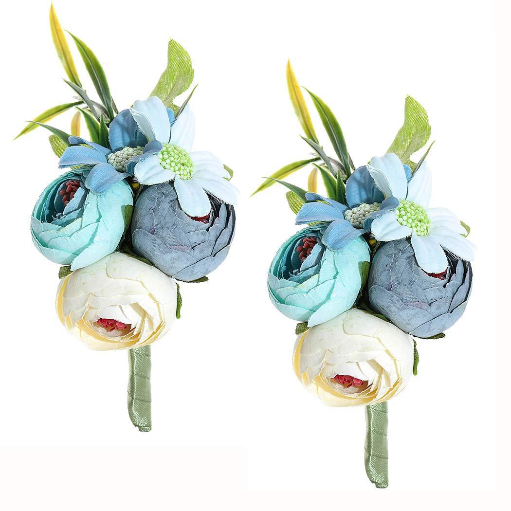 Campsis Wedding Boutonniere Men's Rose Buttonholes Artificial Flower Accessories for Groom Groomsman Prom Party Suit Decoration 2Pcs (Blue Flower)