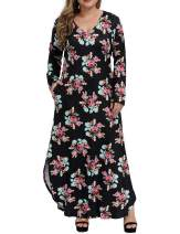 Allegrace Women's Casual Loose Plus Size Dress Long Sleeve Colored Stripe Floral Pocket Split Maxi Dresses
