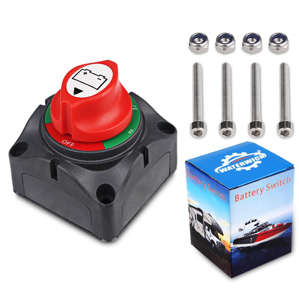 WATERWICH DC12-60V Dual Battery Disconnect Switch Kit 1-2-both-off Isolator Selector Marine Battery Switches 200/1250 Amp Waterproof for Ship Boat Small Yacht RV Camper Truck Car (1-2-Both-Off Switch)