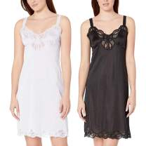 Under Moments Women Full Cami Slip Camisole Dress Nightgown 2 Pack White-Black
