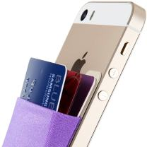 Credit Card Wallet, Sinjimoru Stick-On Wallet Functioning as Wallet case, Credit Card Case on iPhones and Androids. Sinji Pouch Basic 3, Light Violet.