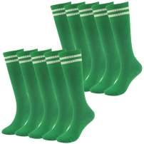 saillsen 10 Pairs Boys' Girls' Team Sport Cushion Striped Tube Soccer Socks