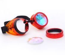 Vintage STEAMPUNK GOGGLES Glasses kaleidoscope Lens Rustic Goth PARTY Sunglasses