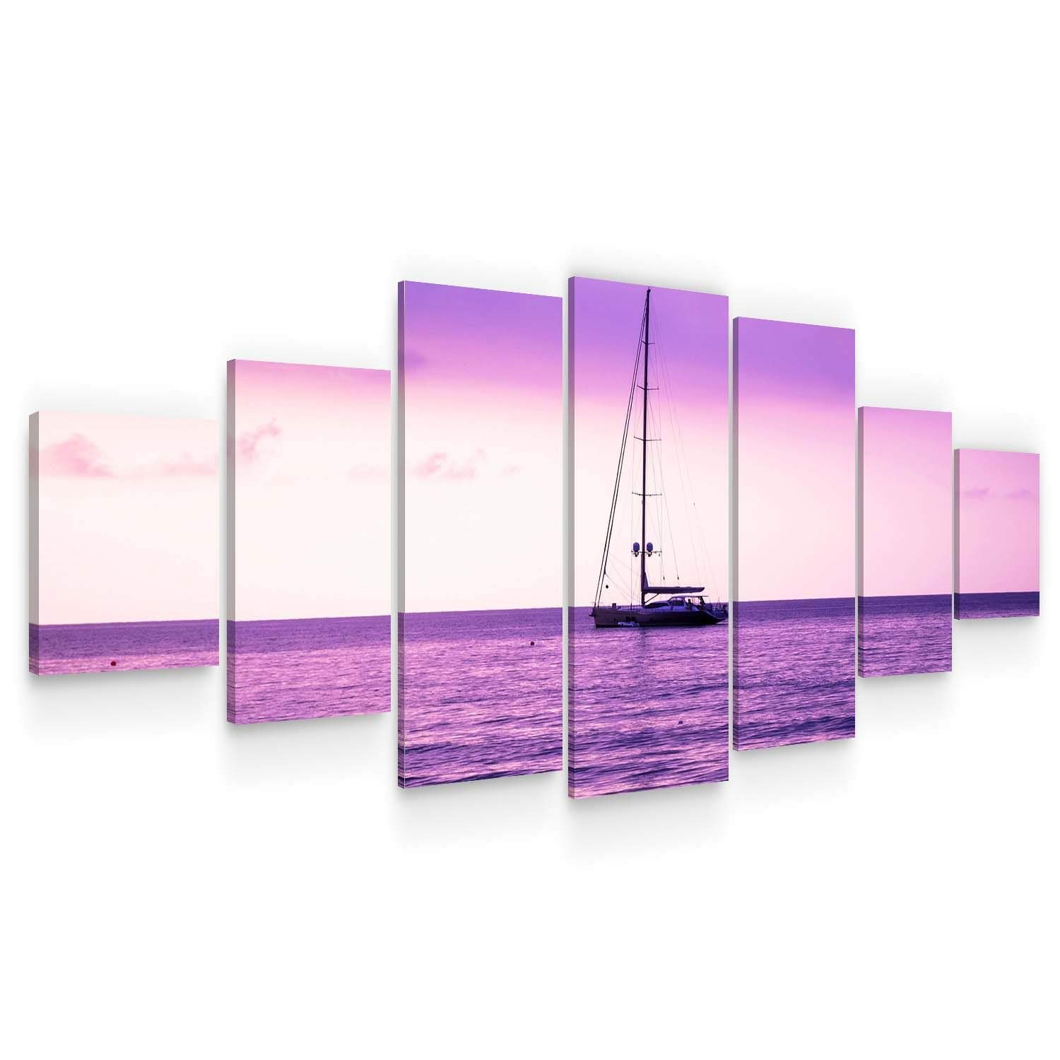 Startonight Huge Canvas Wall Art Purple Ocean View - Large Framed Set of 7 40 x 95 Inches