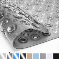Color&Geometry Original Bath Tub Shower Mat, 35x16, Machine Washable, Non-Slip, Mats with Drain Holes, Suction Cup and Non Slip, Bathroom Mats, Clear Gray