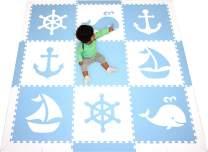 SoftTiles Foam Children's Playmat- Nautical Theme/Ocean Theme- Interlocking Large 2 Foot Tiles for Baby Nursery/Kids Playrooms- 6.5 x 6.5 ft.- (Light Blue, White) SCNAUWS