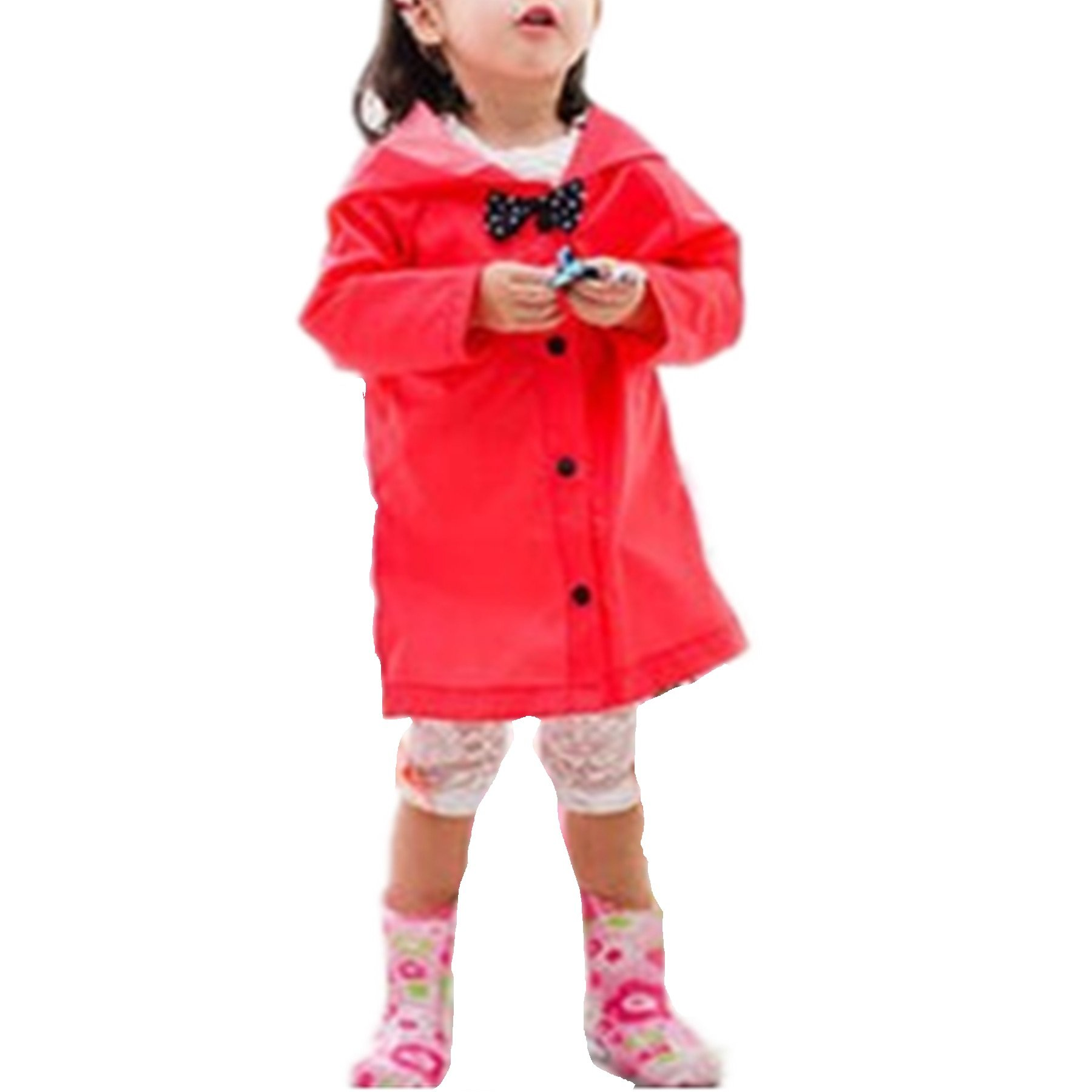 Taiduosheng Age 2~10 Kids Hooded Button Down Jacket Rain Jacket Raincoat with Bow Cover Long Rainwear