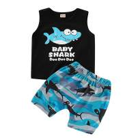 LZH Baby Boy Clothes Sets Summer Cotton Shark Print Sleeveless Tops + Short Pants Outfits Sets