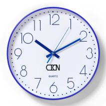 CICN Wall Clock 12'' Electroplating Silent Non Ticking Quality Quartz Battery Operated Wall Clock (Blue)