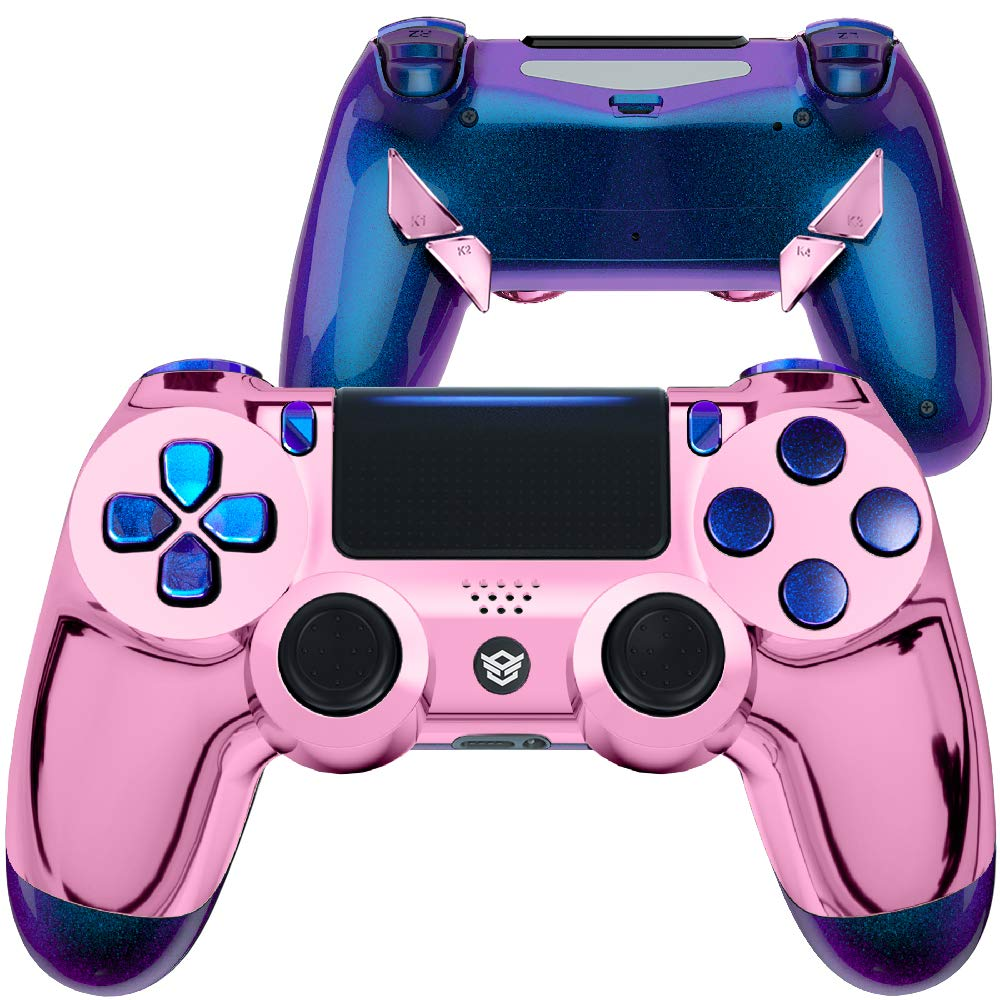 HexGaming HEX Edge Controller 4 Mappable Back Buttons & Replaceable Thumbsticks & Hair Trigger for ps4 Controller Customized Game Controller PC Wireless FPS Gamepad –Chrome Pink