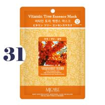 Pack of 31, The Elixir Beauty MJ Korean Cosmetic Full Face Collagen Vitamin Tree Essence Mask Pack Sheet for Vitality, Clarity, Mosturizing, Relaxing