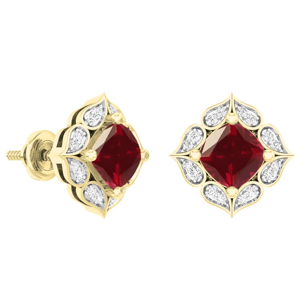 Dazzlingrock Collection 14K Each 6 MM Cushion Lab Created Gemstone & Round Diamond Ladies Stud Earrings, Yellow Gold