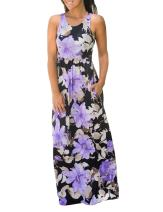 DUNEA Women's Maxi Dress Floral Printed Autumn Sleeveless Casual Tunic Long Maxi Dress (X-Large, Sleeveless-Purple)
