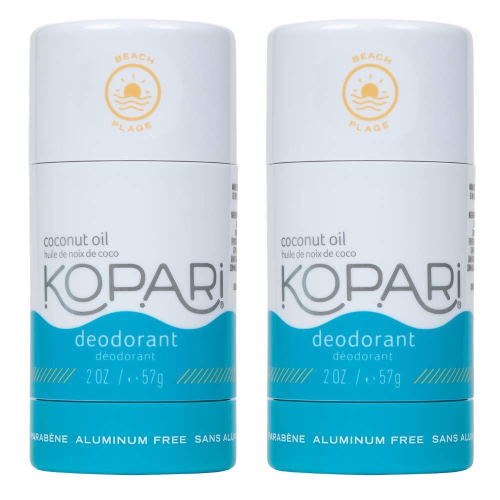 Kopari Aluminum-Free Deodorant Beach | Non-Toxic, Paraben Free, Gluten Free & Cruelty Free Men's and Women's Deodorant | Made with Organic Coconut Oil | 2 Pack, 2.0 oz