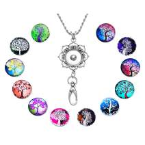Souarts Womens Office Lanyard ID Badges Holder Necklace with 12pcs Snap Jewelry Charms Pendant Clip (Life Tree)