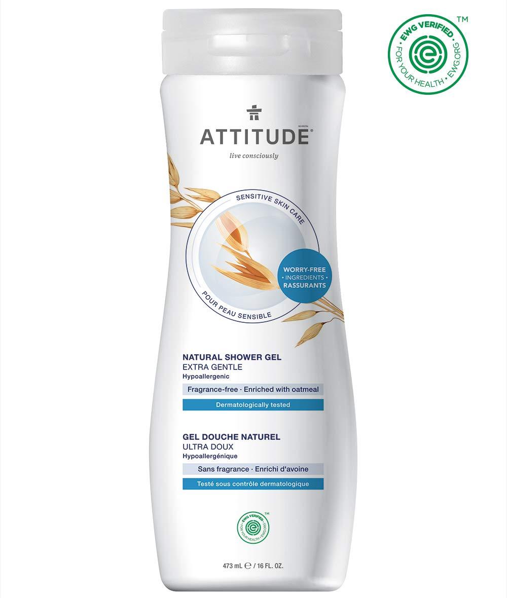 ATTITUDE Sensitive Skin, Hypoallergenic Body Wash, Fragrance-free, 16 Fluid Ounce