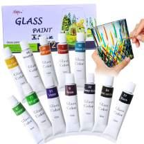 Happlee Stained Glass Paint 12 Colors Non Toxic Porcelain Paint for Glass Painting Permanent Acrylic Enamel Paint Transparent Glass Paint Set Translucent Glass Kit for Wine glass Window Ceramic, 0.41 fl.oz