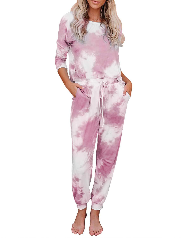 LookbookStore Women's Cozy Tie Dye Printed Knit Jumpsuit Loungewear Sleepwear Pajamas Long Joggers Pajamas Set