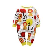 YOUNGER TREE Infant Toddler Baby Girl Boy Bodysuit Long Sleeve Cute Cartoon Lion Print Romper Jumpsuit Fall Winter Clothes