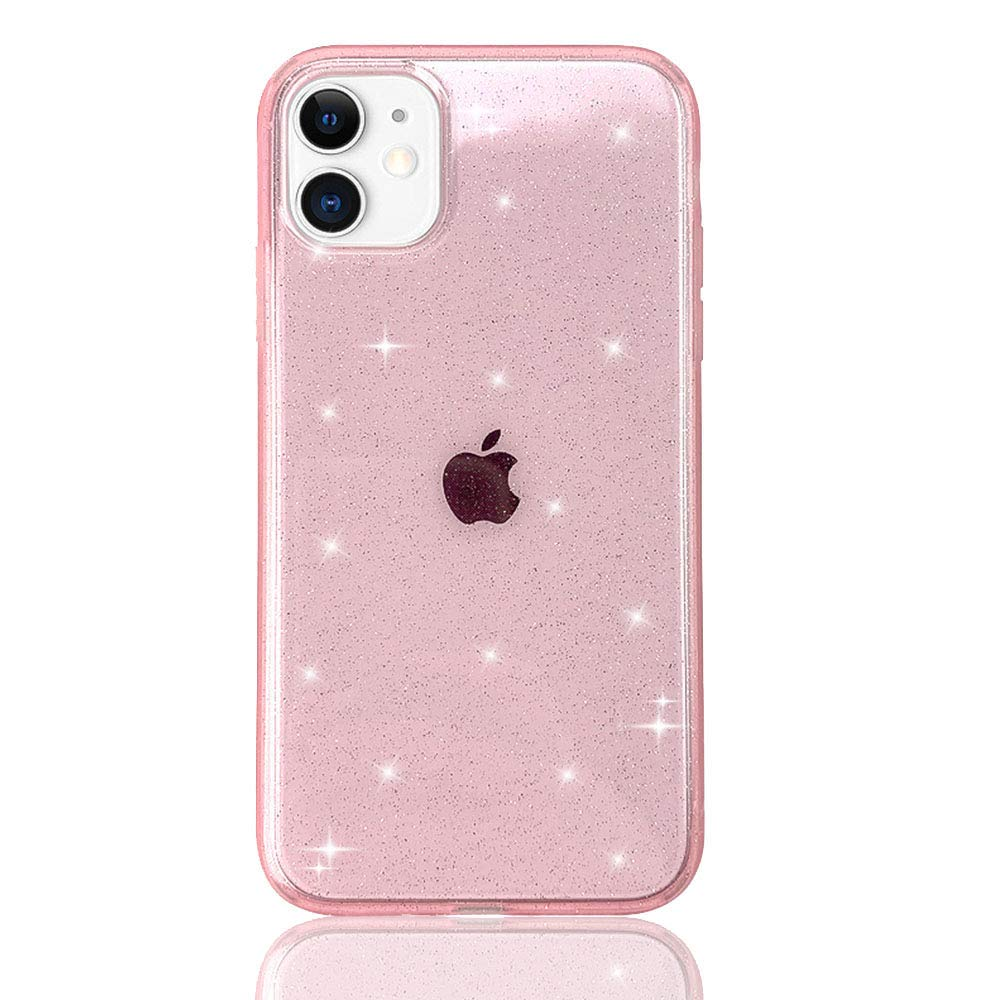 """HUIYCUU Case for iPhone 11 Case Clear Glitter 6.1"""", Soft Cute Slim Sparkle Bling White Design Pattern [Drop Protection Shockproof ] Bumper Girl Women Cover Compatible with iPhone 11, Matte Pink"""