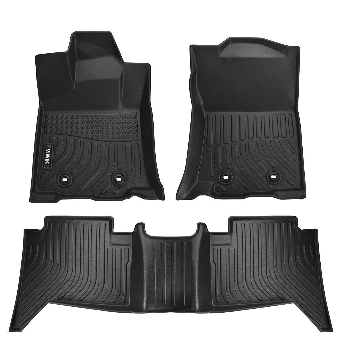 VIWIK Floor Mats for 2018-2020 Toyota Tacoma Double Cab, TPE Front and Rear Floor Liner Set for Toyota Tacoma, Tough, Durable and Eco-Friendly, 100% Safe