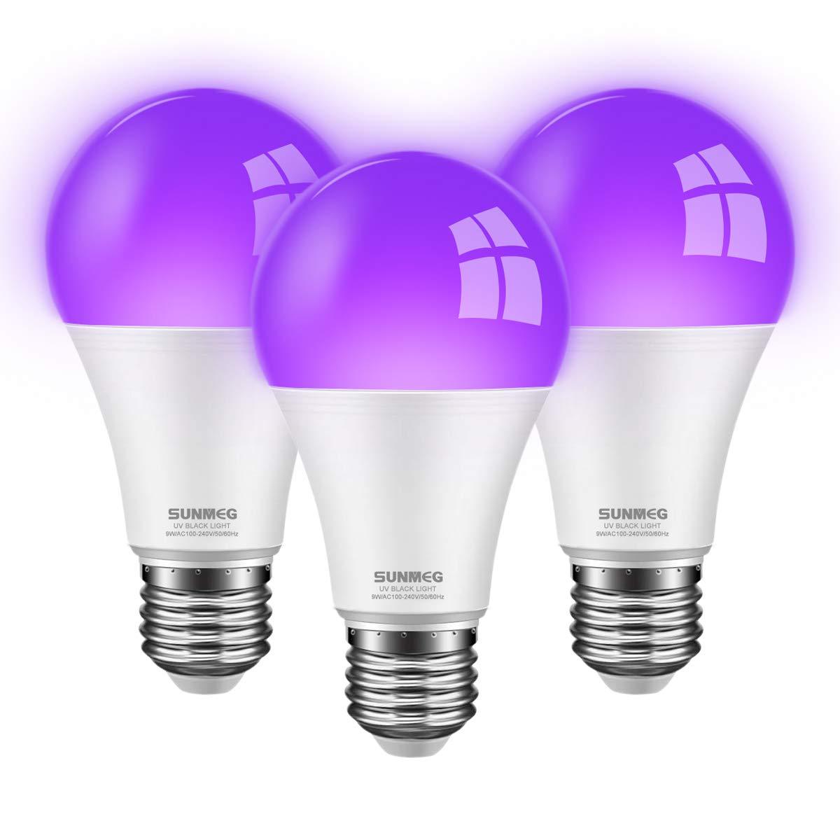 SUNMEG UV LED Black Light Bulbs 3 Pack 9W E26/E27 A19 Bulbs, UVA Level 395-400nm, Glow in The Dark for Black Light Party Birthday Wedding Halloween Body Paint, Fluorescent Poster, Neon Glow