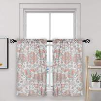 """oremila Tier Curtains for Kitchen Windows Floral café Curtains, 27"""" x 24"""" Multicolor Floral Printed Half Window Curtain Set for Bathroom Rod Pocket, 1 Pair, Red"""
