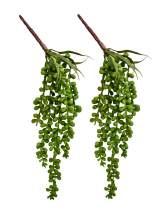 """HUIANER Artificial Succulent Plants, 13.4"""" Fake Plastic Hanging String of Pearls Plant Simulation Greenery Plants for Home Kitchen Office Garden Wedding Decor, Pack of 2"""
