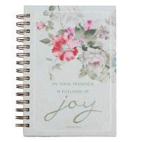 """Christian Art Gifts Large Hardcover Notebook/Journal   Fullness of Joy – Psalm 16:11 Bible Verse   Pink Flowers Inspirational Wire Bound Spiral Notebook w/192 Lined Pages, 6"""" x 8.25"""""""