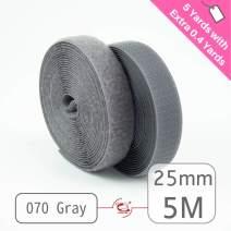 """25mm(1"""") Width 5 Pair Yards Sew-On Hook&Loop Fastener Tape for 12 Colors (#070 Gray)"""