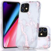 iPhone 11 Case, BAISRKE Shiny Rose Gold Marble Design Bumper Matte TPU Soft Rubber Silicone Cover Phone Case for iPhone 11 6.1 inch 2019 - White Marble