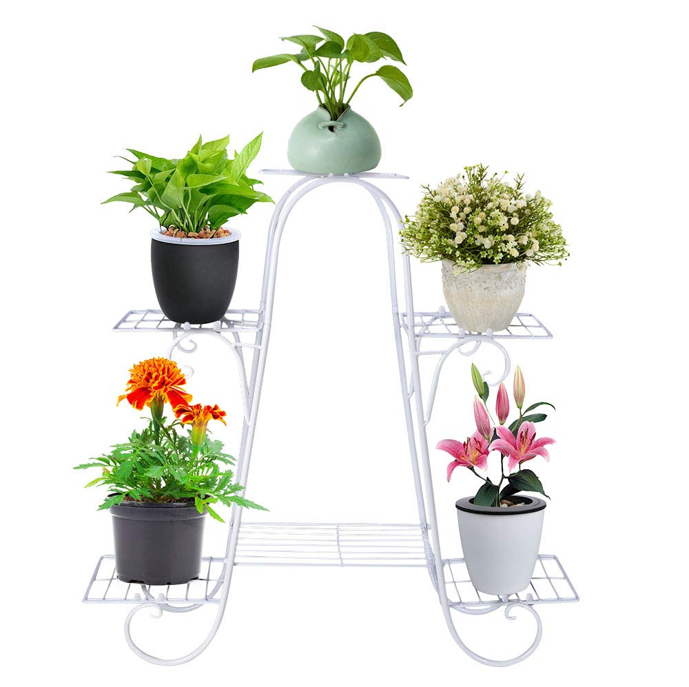 Seeutek 28.7 Inch Potted Plant Stand 6 - Layer Rustproof Iron Art Flower Pot Holder Rack Shelves for Outdoor & Indoor Decorative Garden Pots Containers Stand White