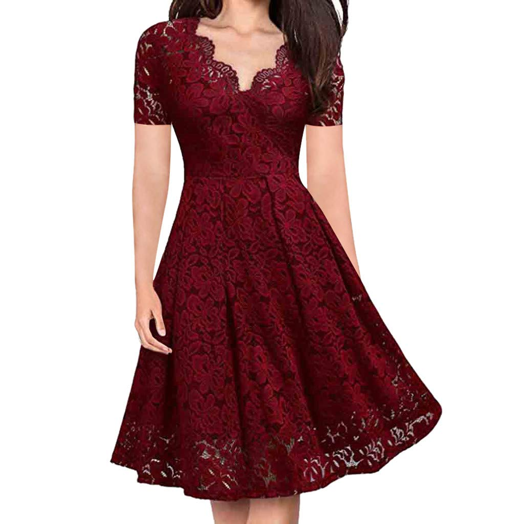 Lace Dress, Women's Vintage Floral Lace Long Sleeve V-Neck Formal Evening Party Cocktail Midi Swing Dresses
