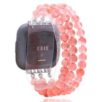 C&L Accessories Wristband Compatible with Fitbit Versa/Versa Lite/Versa 2 Bands, Handmade Beaded Natural Crystal Agate Jewelry Bracelet Strap Replacement for Fitbit Versa/Versa Lite/Versa 2