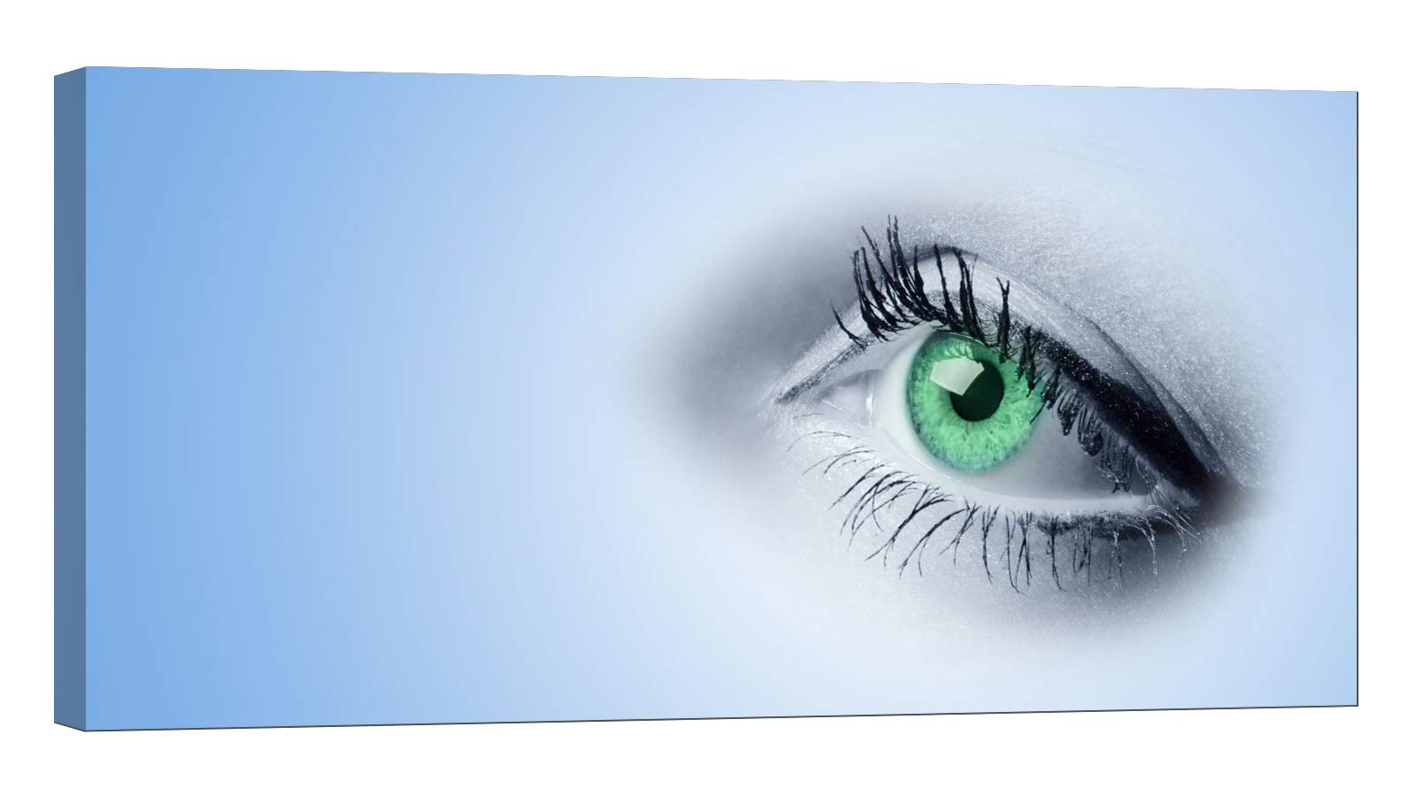 LightFairy Wall Art for Living Room - Glow in The Dark Canvas Painting - Stretched and Framed Giclee Print - Female Green Eyes - Wall Decorations for Bedroom - 32 x 16 inch