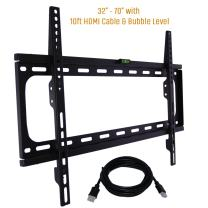 """Koramzi Fixed TV Wall Mount Bracket Fits 32-70"""" TV's 600x400 VESA Low Profile Ultra Slim Including Bubble Level & 10ft. HDMI Cable Life Time Warranty-(Black)- KWM988F"""