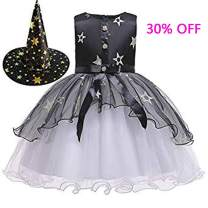 Fairy Baby Halloween Costumes Toddler Witch Costume for Girls with Witch Hat Kids Princess Dresses Holiday Party Tulle Outfit