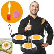 MSDADA Egg Ring, 3 Pcs Stainless Steel Non-Stick Round Egg Cooker Rings For Cooking, Household Kitchen Cooking Tool for Frying McMuffin or Shaping Eggs, Egg Maker Molds 3 Inch