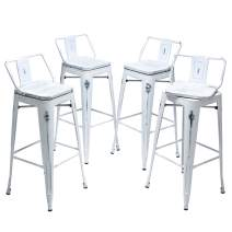 """Yongqiang 24"""" Swivel Bar Stools Set of 4 Low Back Metal Barstools Indoor Outdoor Counter Bar Chairs with Wooden Seat Distressed White"""