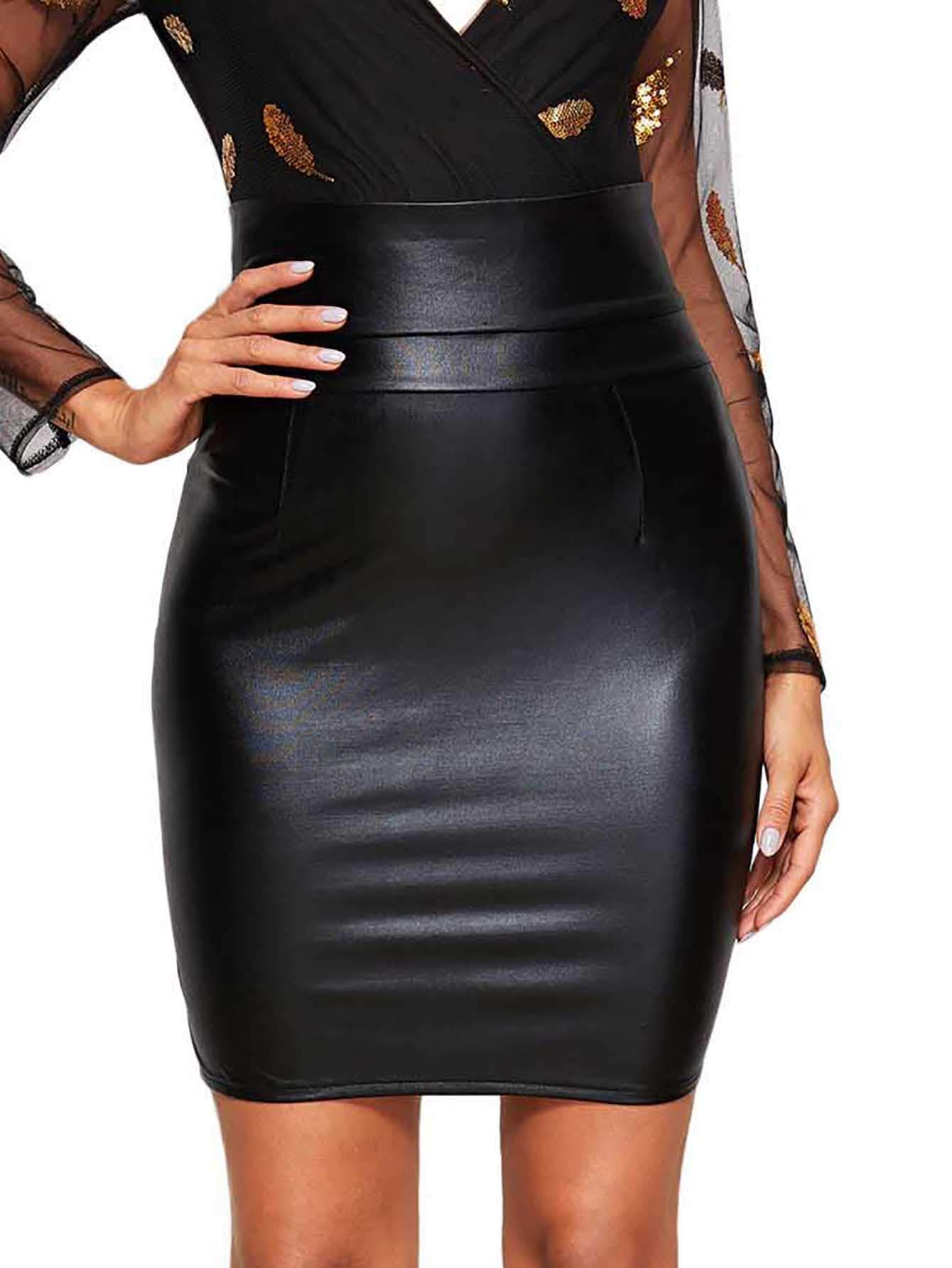 WDIRARA Women's Elegant High Waist Split Side Solid Faux Leather Bodycon Skirt