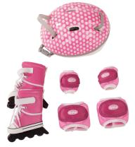 "Gotz Doll Size Inline Skates Helmet and Pads for 18"" and 19.5"" Standing Dolls"