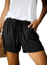 HUUSA Women's Drawstrings Casual Loose Comfy Summer Beach Shorts with Pockets