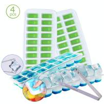 Ice Cube Trays Silicone with Lids, Reusable Large Ice Cube Tray, Ice Cube Maker (2 semilune+2 Square)